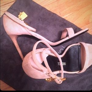 Tom Ford Padlock nude pink strappy sandals/ heels